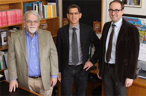 """Members of Pitt's Governance Group (left to right) Louis A. Picard, director of Pitt's Ford Institute of Human Security; Steven E. Finkel, chair of Pitt's Department of Political Science and Daniel H. Wallace Professor of Political Science; and Chris A. Belasco, doctoral candidate in the Graduate School of Public and International Affairs."""
