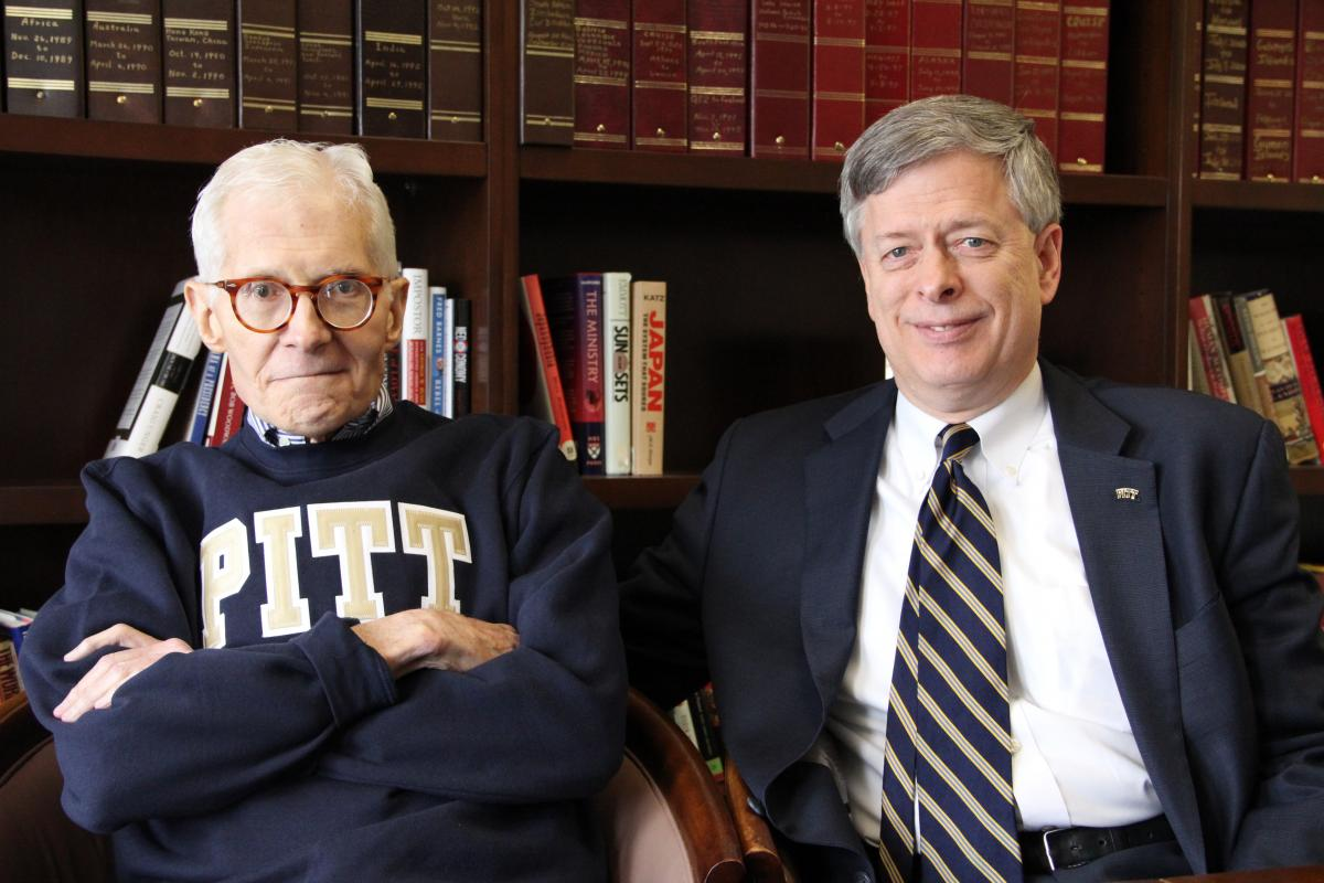 William S. Dietrich II and University Chancellor Mark A. Nordenberg pose for a photo taken Sept. 22, 2011.
