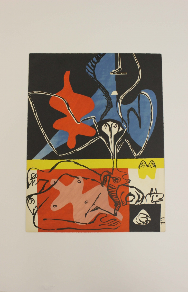 Le Corbusier, lithograph from Poème de l'angle droit, 1955. In the collection of the Frick Fine Arts Library, University of Pittsburgh.