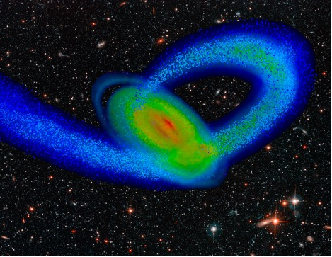 Computer simulation of the Sagittarius Dwarf galaxy impacting the Milky Way.