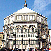 The exterior of the Baptistery of St. John opposite the Cathedral of Florence.