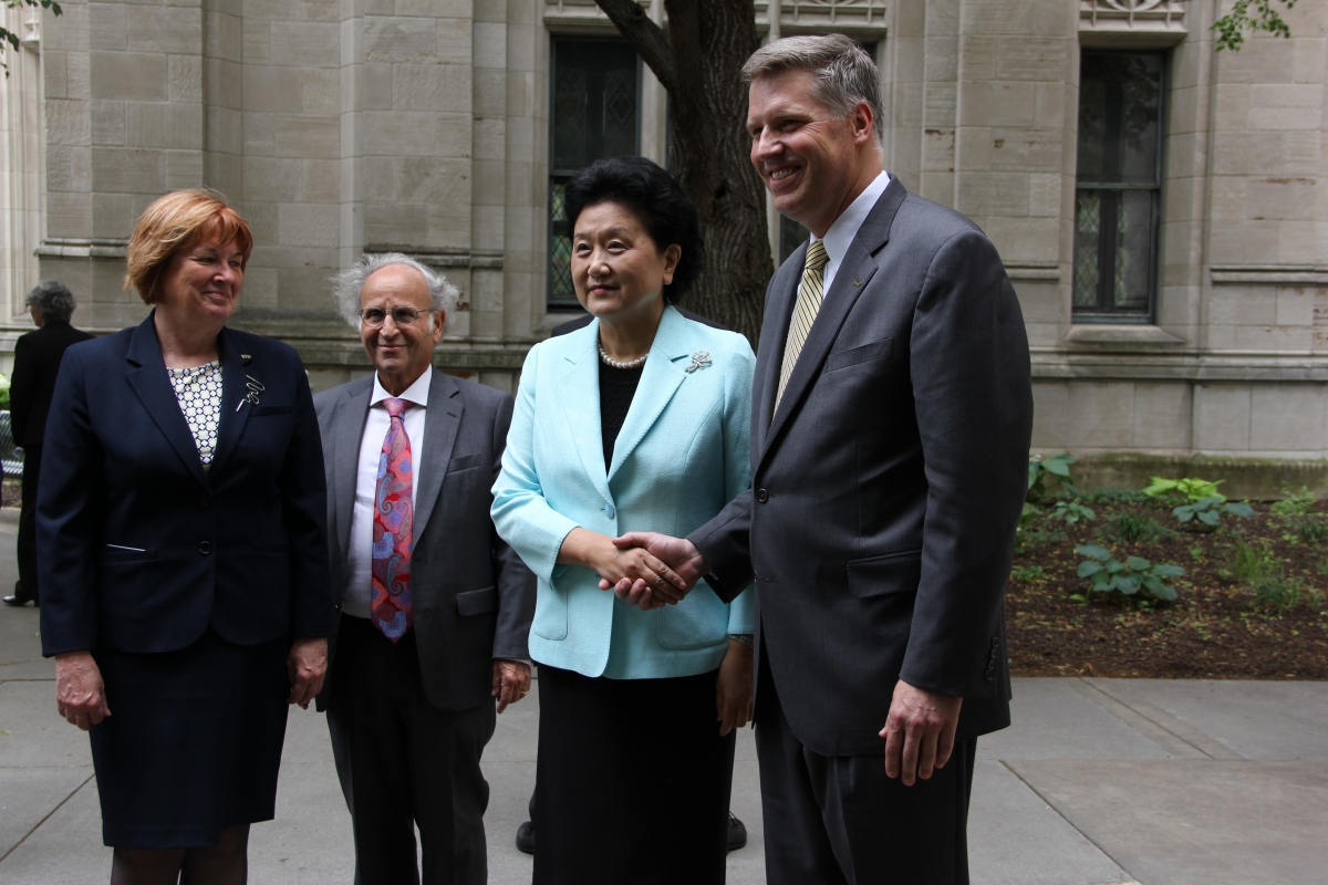From left: Patricia E. Beeson, provost and senior vice chancellor; Arthur S. Levine, senior vice chancellor for the health sciences and John and Gertrude Petersen Dean of the School of Medicine; Madame Liu Yandong, Vice Premier of the State Council of the People's Republic of China; and Chancellor Patrick Gallagher